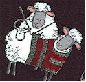 Knit - Whimsical Knitting Sheep on Black-BACK IN STOCK! (AN-sheep-M810)