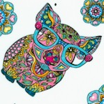 Mandala Tango - Whimsical Pigs on White by Hope Yoder