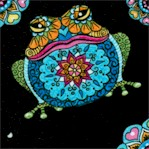 Mandala Tango - Frogs on Black by Hope Yoder
