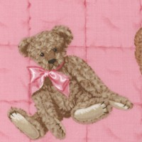 Teddy Bear Toss on Pink by Patty Reed - SALE! (MINIMUM PURCHASE 1 YARD)