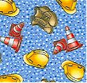 Hard Hats - Tossed Traffic Cones, Work Boots and Hard Hats - LTD. YARDAGE AVAILABLE