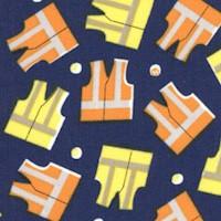 The Big Dig - Tossed Construction Vests on Blue by Whistler Studio