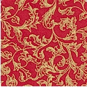 Dazzle - Gilded Florentine Vines on Red