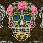Calavera - Tattoo Sugar Skulls on Brown-Black