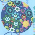 Fandango - Peace Signs and Retro Ornaments on Blue