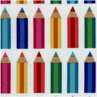 Anything Goes - Horizontal Rows of Colored Pencils on White
