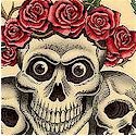 The Rose Tattoo - Skulls and Roses on Teadye