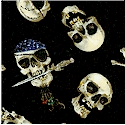 Boneheads - Tossed Skulls and Crossbones on Black - LTD. YARDAGE AVAILABLE in 2 PIECES