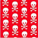 Basic Brights - Petite Skulls and Crossbones on Red - BACK IN STOCK!