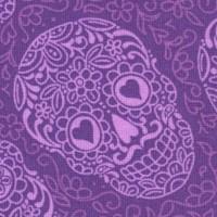 The Day of the Dead Sugar Skulls in Purple