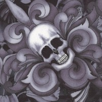 Tossed Skulls and Fleur de Lis in Shades of Gray