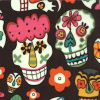 Folklorico - Alegria - Tossed Colorful Sugar Skulls on Black