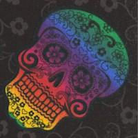 Tossed Rainbow Sugar Skulls on Black