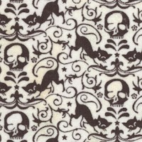 Basic Grey of Eerie - Black Cat and Skull Damask in Black and White