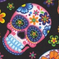 Skulls on Black with Flowers - SALE! (MINIMUM PURCHASE 1 YARD)