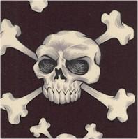 Nicole's Prints - Skull and Bones on Black