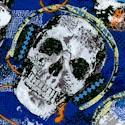 Rock Legends - Tossed Skulls with Headphones on Blue
