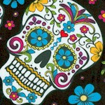 Folkloric - Sugar Skulls on Black - BACK IN STOCK!