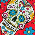 Folkloric - Sugar Skulls on Red