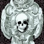 Gothic skulls - Spooky Skull and Bat Damask
