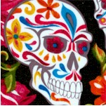 Festive Sugar Skulls and Roses on Black