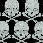 Gothic Glam - Silver Metallic Skulls and Crossbones on Black