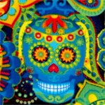 Colorful Festive Sugar Skulls on Black