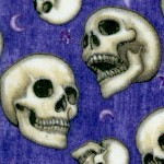 Spellbound - Tossed Skulls on Purple by Dan Morris