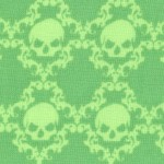 Witch's Brew - Rows of Skulls in Green on Green