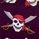 Tossed Pirate Skulls on Black