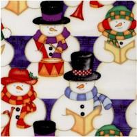 Snow Tunes - Gilded Carolling Snowmen in Rows