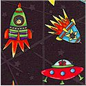 Spacebots - Tossed Spaceships on Black by Jill Webster - LTD. YARDAGE AVAILABLE