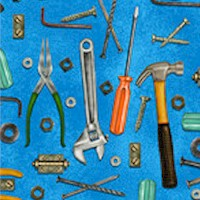 Man Cave - Tossed Tools on Blue by Ninette Brisi