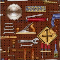Mr. Fix-It - Tools on Brown Pegboard by Dan Morris