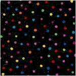 Basics - Tossed Colorful Dots on Black