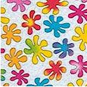 Fun and Bright - Tossed Rainbow Flowers on White
