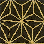 Hyakka Ryoran - Metallic Gold Asanoha Motif on Black