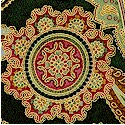 La Scala 3 - Elegant Gilded Paisley in Vintage Colors on Deep Green