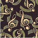 Tan G Clefs and Gilded Musical Scores on Black- BACK IN STOCK!