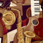 Pleasures and Pasttimes - Picasso-Style Musical Instrument Collage