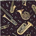 Jazz - Tossed Musical Instruments and Notes on Black - BACK IN STOCK!
