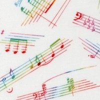 Live Jazz - Tossed Rainbow Musical Phrases, Notes and Symbols