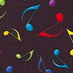Tossed Large Musical Notes in Color on Black