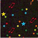 Start the Party - Tossed Musical Notes and Stars on Black