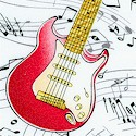 Rock On - Tossed Musical Instruments and Scores on White