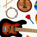 Tossed Musical Instruments on Cream