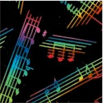 Jazz - Tossed Musical Phrases in Rainbow Colors -BACK IN STOCK!