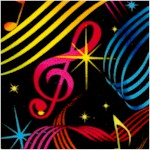 Colorful Musical Notes and Symbols on Black (MU-notes-Y248)
