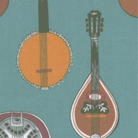 Strings! Musical Instruments on Teal