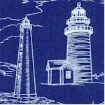 Lighthouses Etched in White on Blue